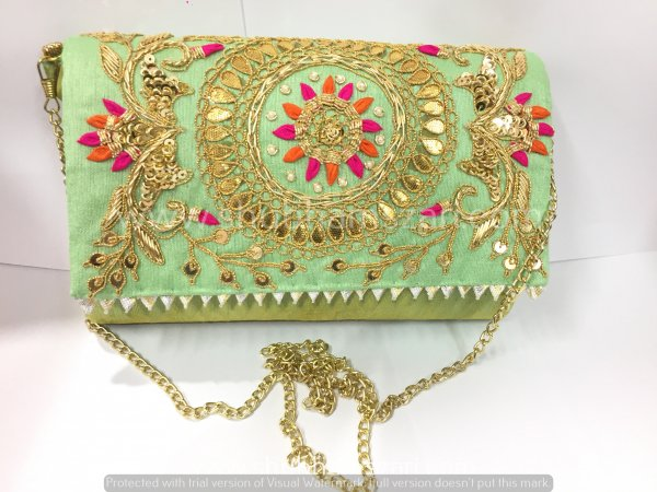Pista Hand Crafted Clutch Handbag With Sling Chain For Women|| Evening Bags|| Embroidery Handbag