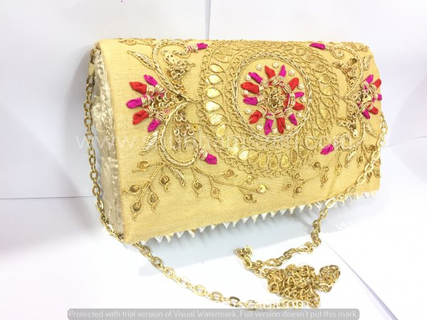 Beige Hand Crafted Clutch Handbag With Sling Chain For Women|| Evening Bags|| Embroidery Handbag