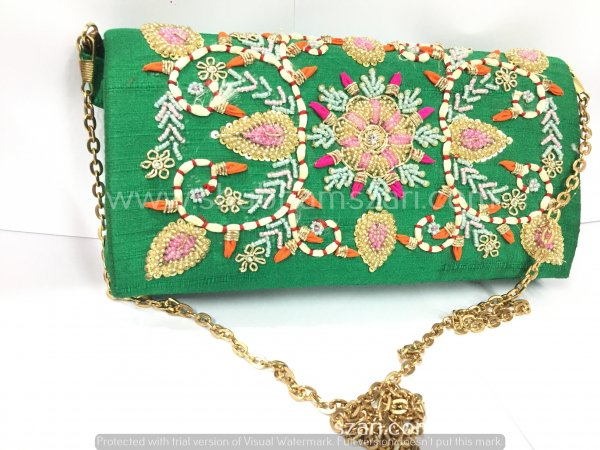 Green Hand Crafted Clutch Handbag With Sling Chain For Women|| Evening Bags|| Embroidery Handbag
