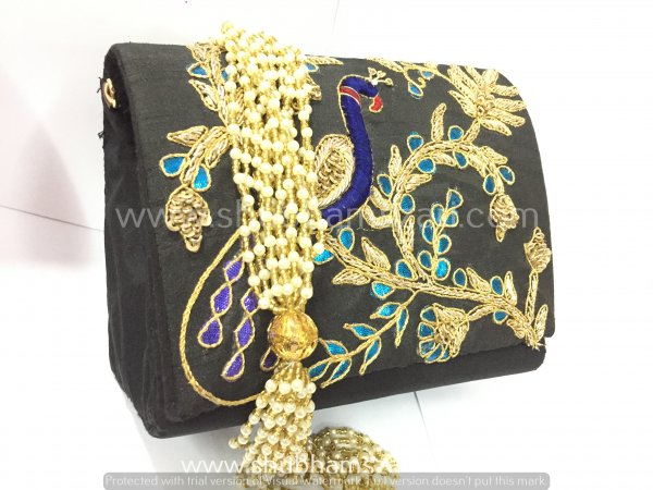 Black Hand Crafted Clutch Handbag With Beaded Chain For Women|| Evening Bags|| Embroidery Handbag