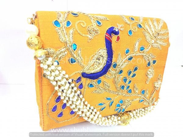 Yellow Hand Crafted Clutch Handbag With Beaded Chain For Women|| Evening Bags|| Embroidery Handbag