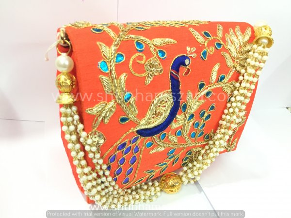 Orange Hand Crafted Clutch Handbag With BeadedChain For Women|| Evening Bags|| Embroidery Handbag