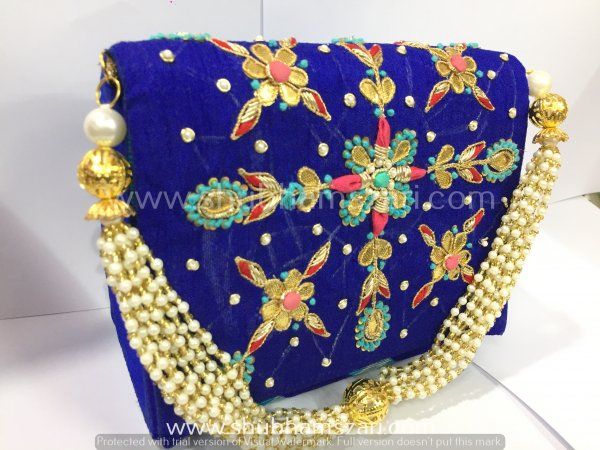 Blue Hand Crafted Clutch Handbag With Beaded Chain For Women|| Evening Bags|| Embroidery Handbag
