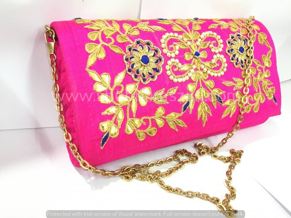Rani Hand Crafted Clutch Handbag With Sling Chain For Women|| Evening Bags|| Embroidery Handbag