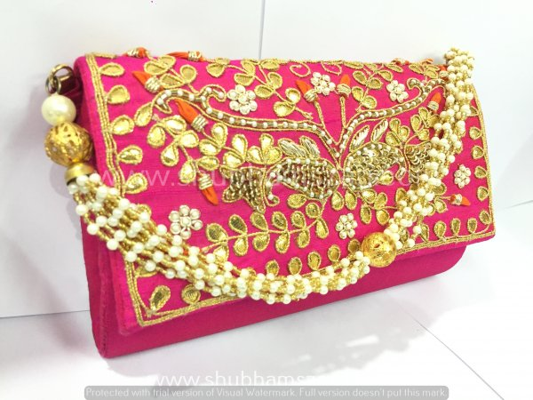 Rani Hand Crafted Clutch Handbag With Beaded Chain For Women|| Evening Bags|| Embroidery Handbag