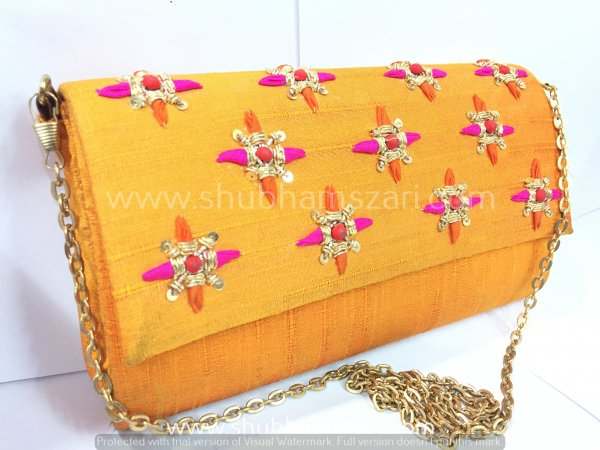 Yellow Hand Crafted Clutch Handbag With Sling Chain For Women|| Evening Bags|| Embroidery Handbag