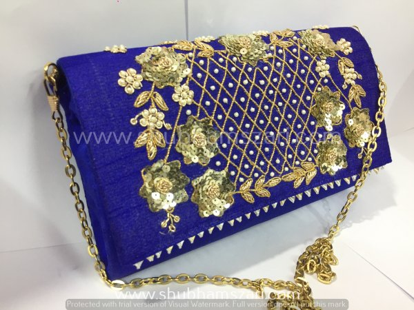 Blue Hand Crafted Clutch Handbag With Sling Chain For Women|| Evening Bags|| Embroidery Handbag