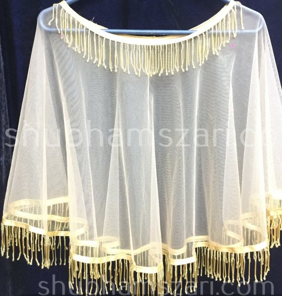 White Net Cape With Hand Cut Daana Work, Hand Work Wraps, Rich Hippie Poncho, Woman embroidered Shawls