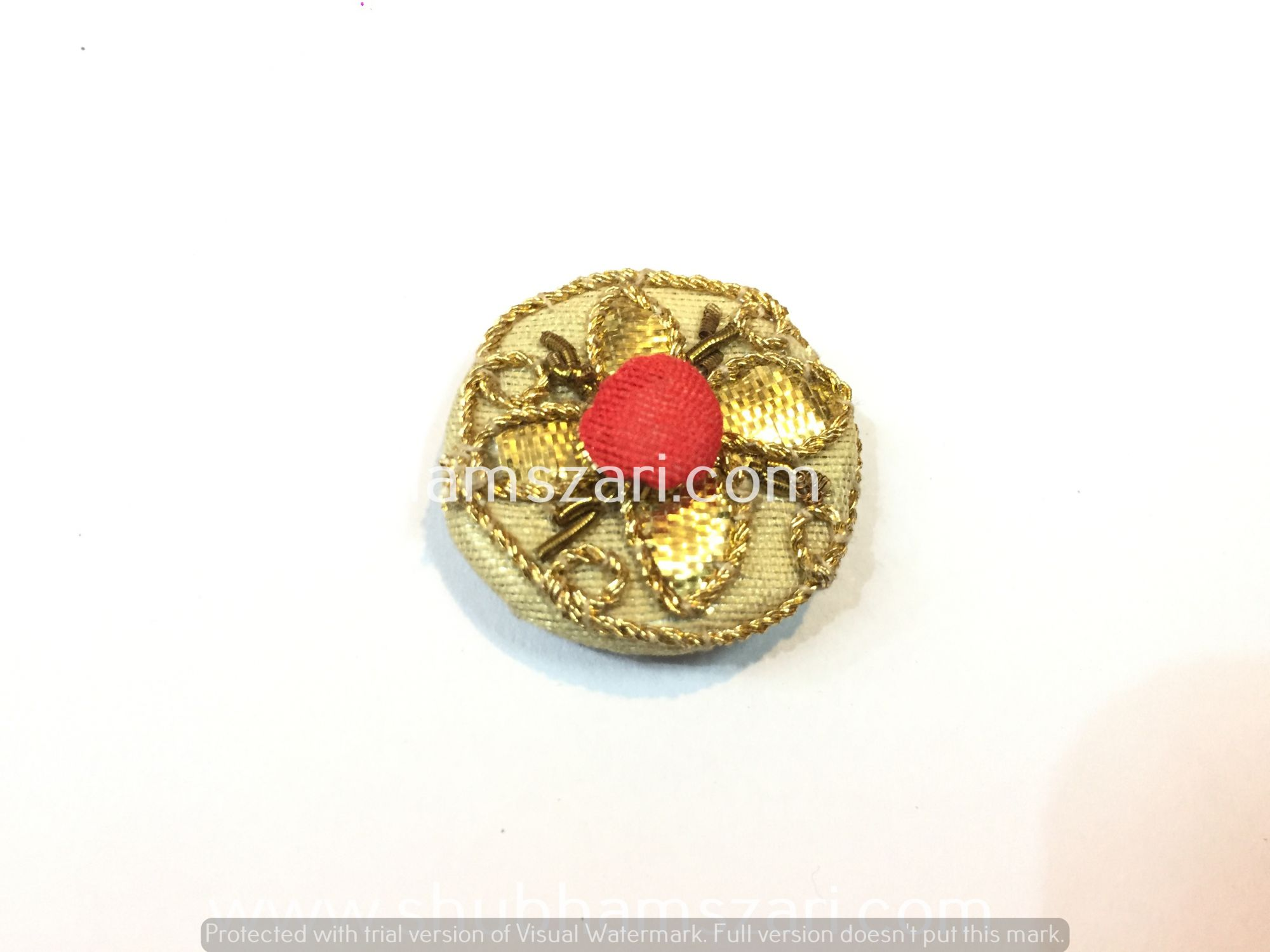 Decorative Indian Button Gota Patti Hand Work Indian Design Hand Crafted Fabric Thread Work Handmade Artwork Wedding Buttons