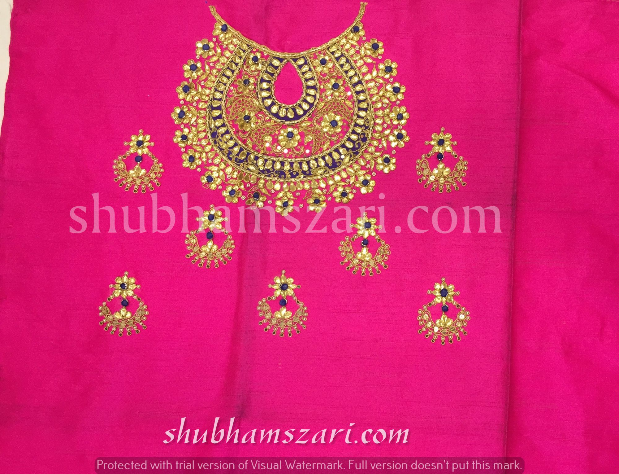 Gota patti blouse with highneck Necklace design in Pink colour