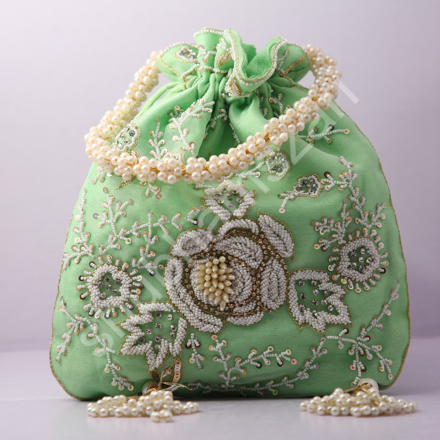 11.Wedding Hand Crafted Potli Bag With Beaded Chain For Women|| Evening Bags|| Embroidery Handbag