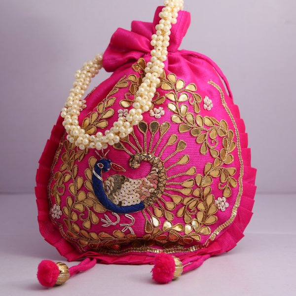16.Wedding Hand Crafted Potli Bag With Beaded Chain For Women|| Evening Bags|| Embroidery Handbag