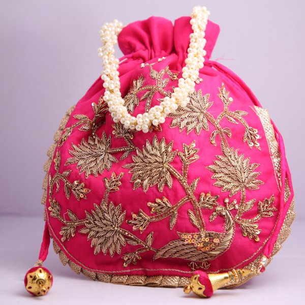 10.Wedding Hand Crafted Potli Bag With Beaded Chain For Women|| Evening Bags|| Embroidery Handbag