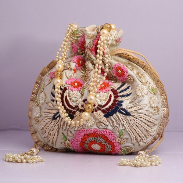 8.Wedding Hand Crafted Potli Bag With Beaded Chain For Women|| Evening Bags|| Embroidery Handbag