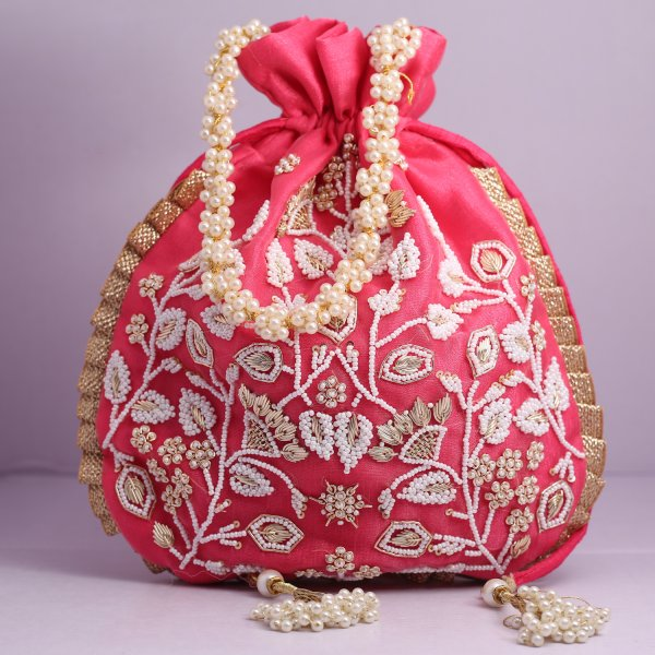 7.Wedding Hand Crafted Potli Bag With Beaded Chain For Women|| Evening Bags|| Embroidery Handbag