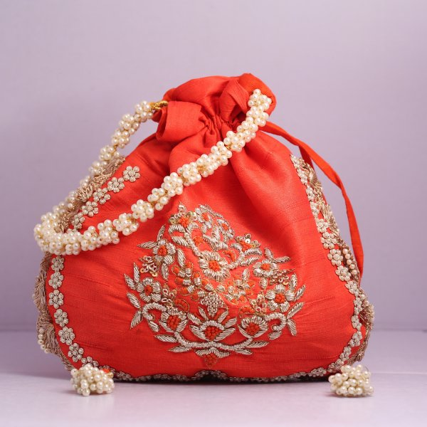 6.Wedding Hand Crafted Potli Bag With Beaded Chain For Women|| Evening Bags|| Embroidery Handbag