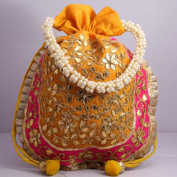 21.Wedding Hand Crafted Potli Bag With Beaded Chain For Women|| Evening Bags|| Embroidery Handbag