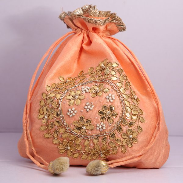 3.Wedding Hand Crafted Potli Bag With Beaded Chain For Women|| Evening Bags|| Embroidery Handbag