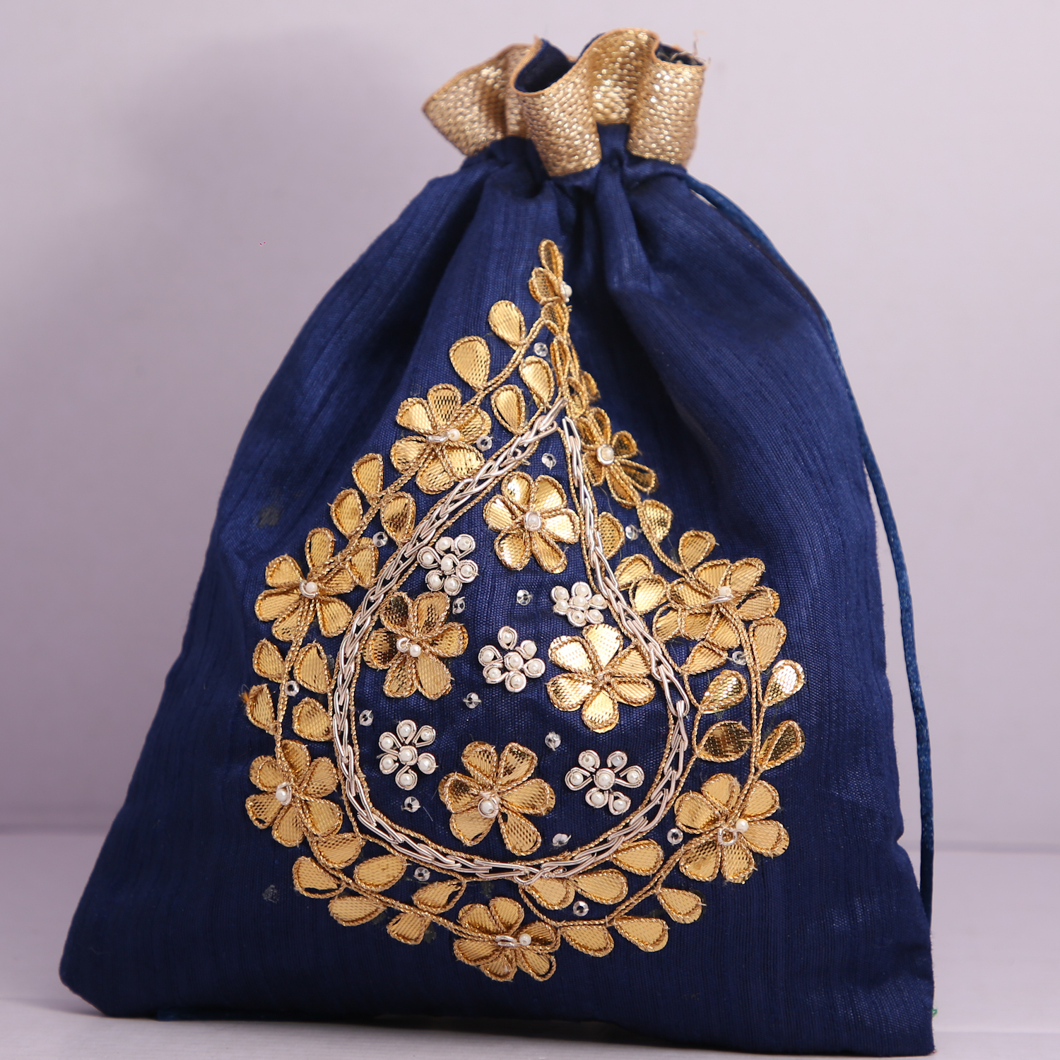 2.Wedding Hand Crafted Potli Bag With Beaded Chain For Women|| Evening Bags|| Embroidery Handbag