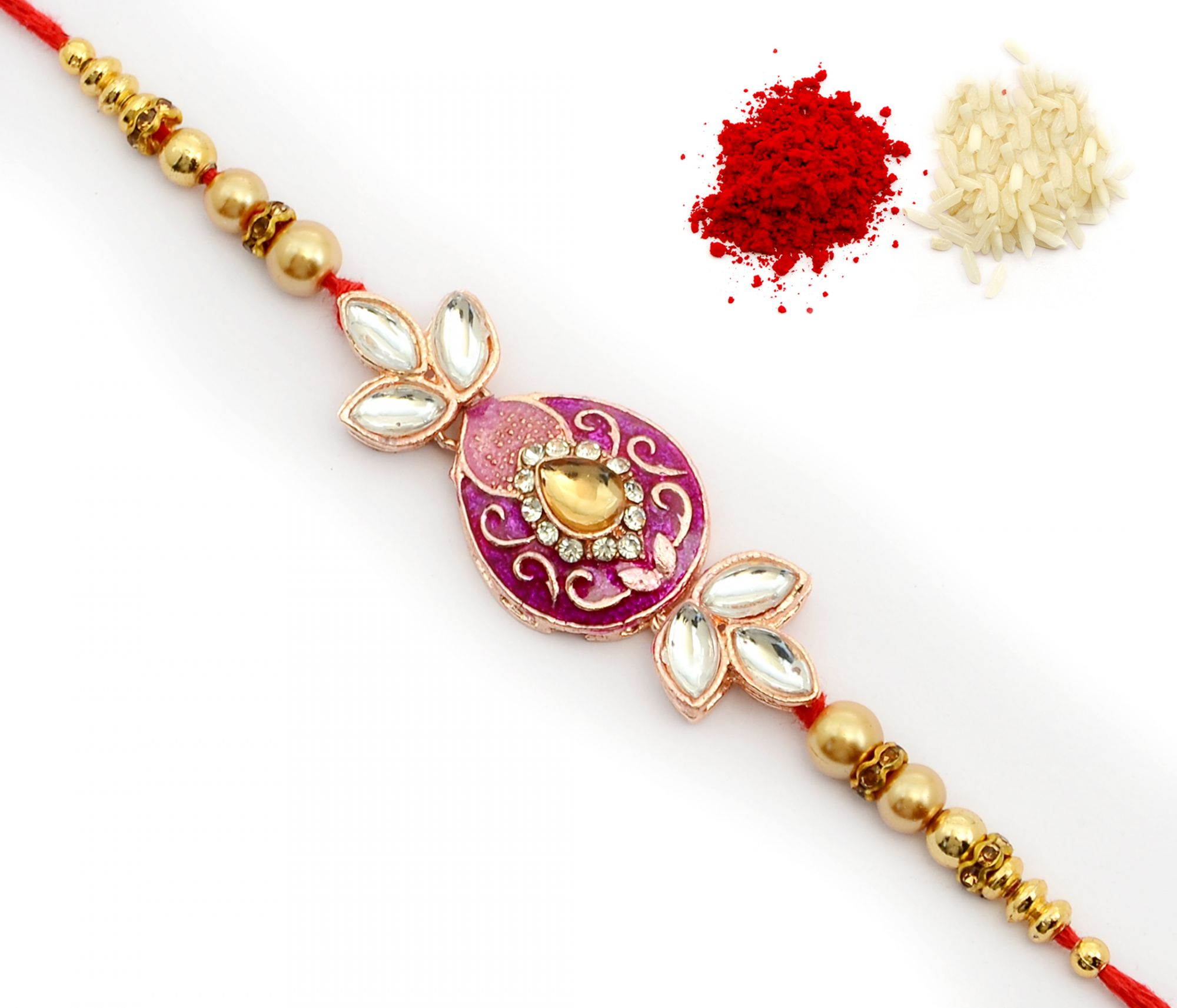 COLOURFUL KUNDAN ALLOY METAL WITH HANDCRAFTED BEADS RAKHI