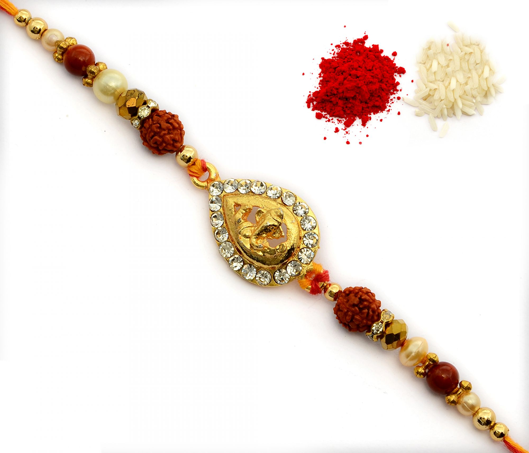 GOLD PLATED GANESH JI METAL HANDCRAFTED BEADS RAKHI
