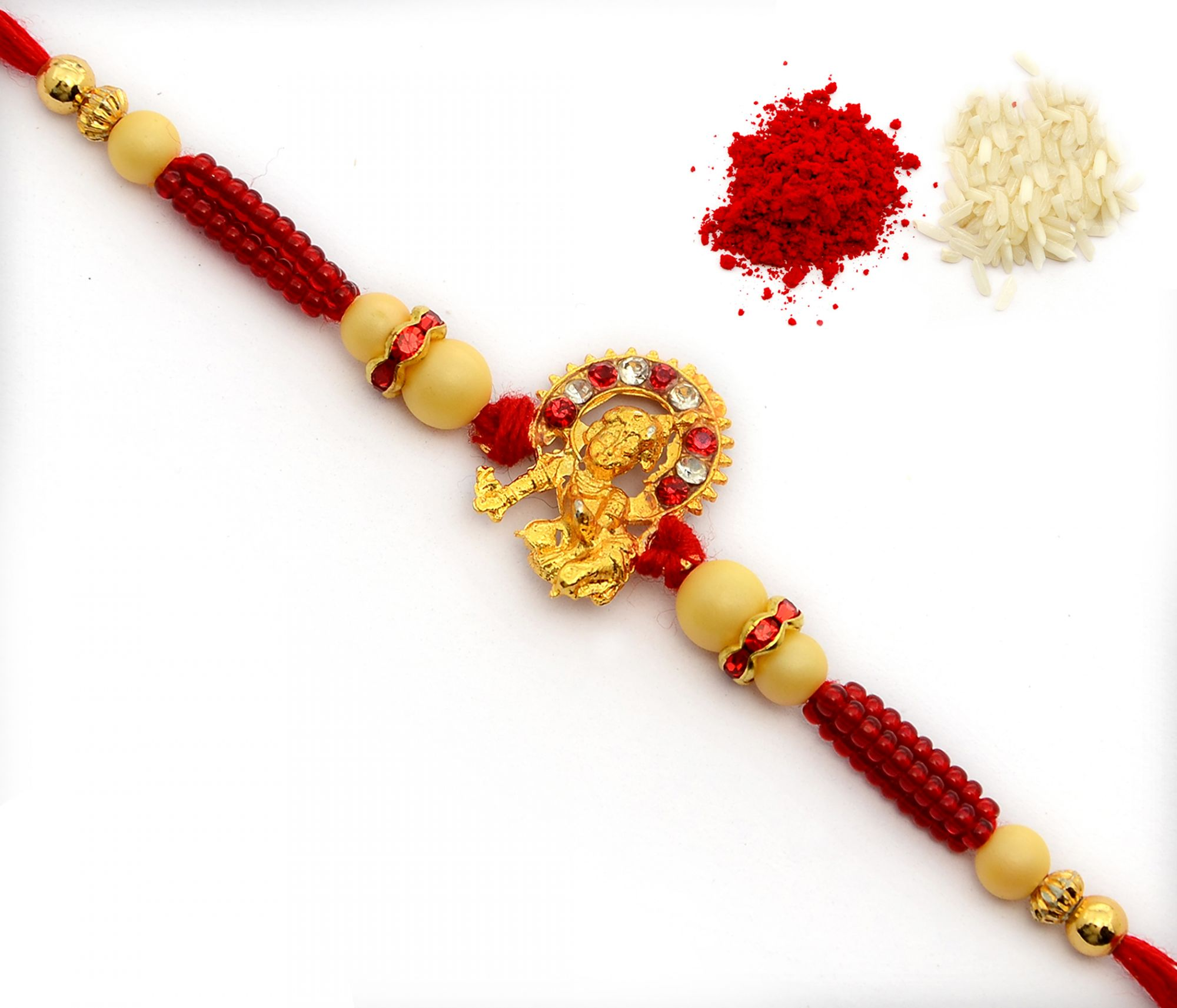 GOLD PLATED KRISHNA METAL PENDANT  WITH GOLDEN AND CHEED HANDCRAFTED BEADS BHAIYA, BHAI, BROTHER RAKHI