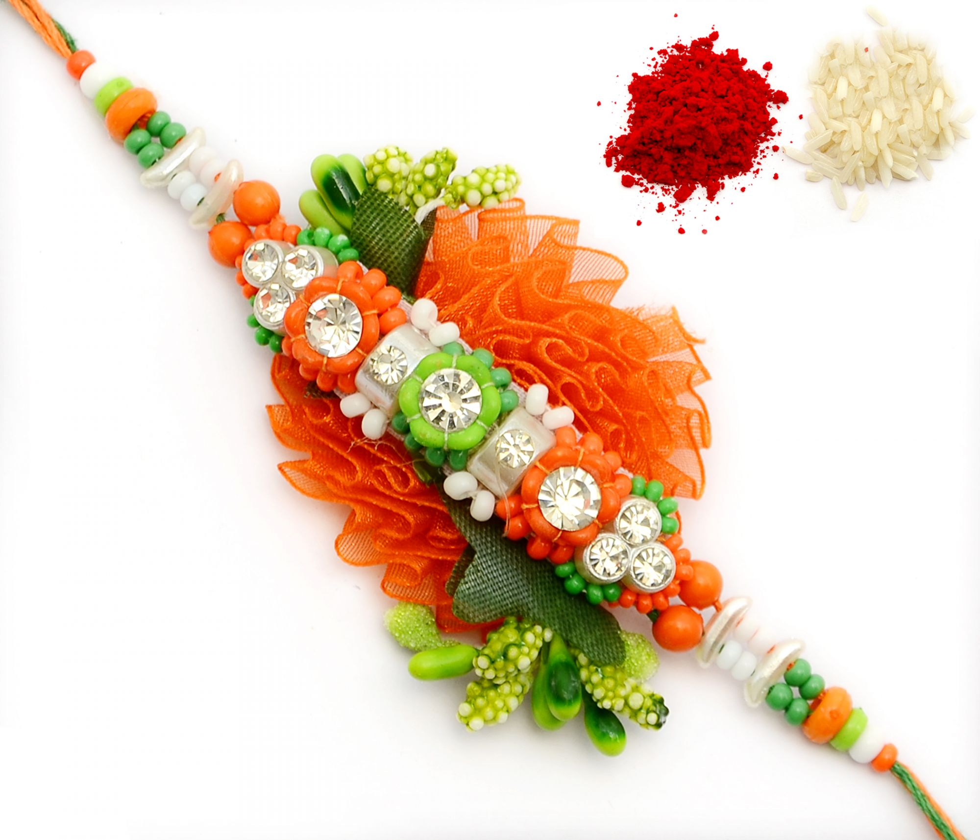 MULTICOLOUR TUSSUE FLOWER WITH MULTICOLOUR BEADS BHAIYA, BHAI, BROTHER RAKHI