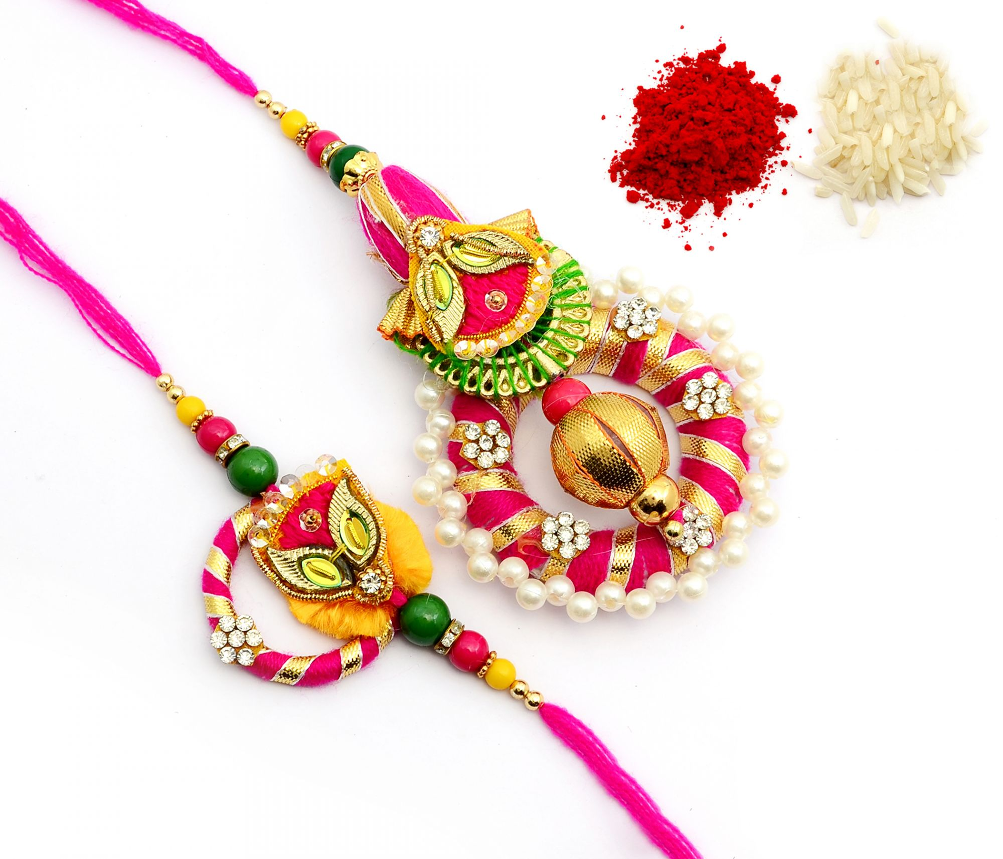 GOTA CHAKRI WITH PEARLS AND HANDCRAFTED BEADS LUMBA RAKHI SET FOR BHAIYA BHABHI