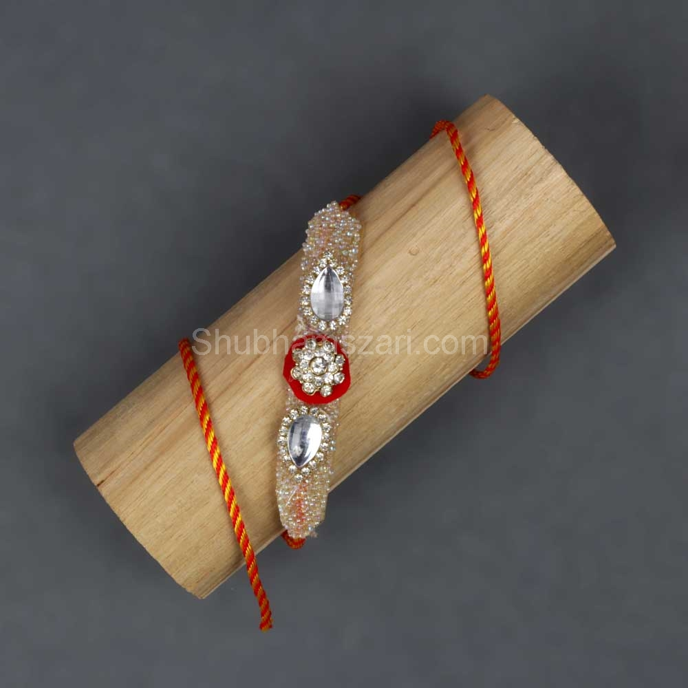 White Cz. Beaded Rakhi